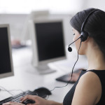 business people group with  headphones giving support in  help d